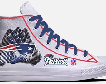 458e27277e9803 New England Patriots Custom Leather Converse Chuck Taylor All Star High Top