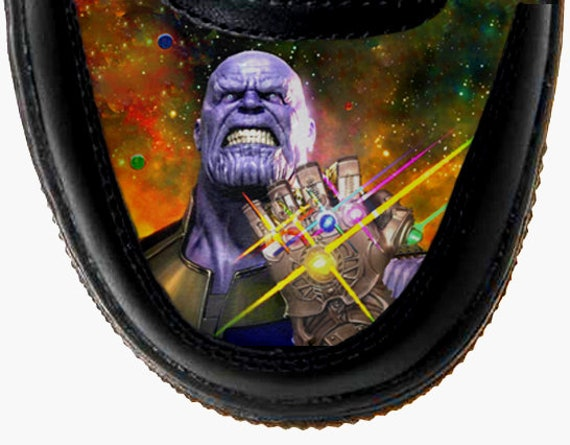 Custom Nike Air Force One AF1 Thanos Black Leather Sneakers