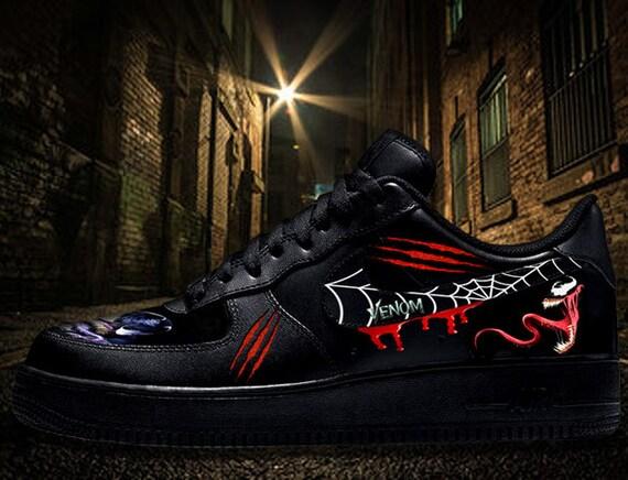 Custom Nike Air Force One AF1 VENOM Black Leather Sneakers