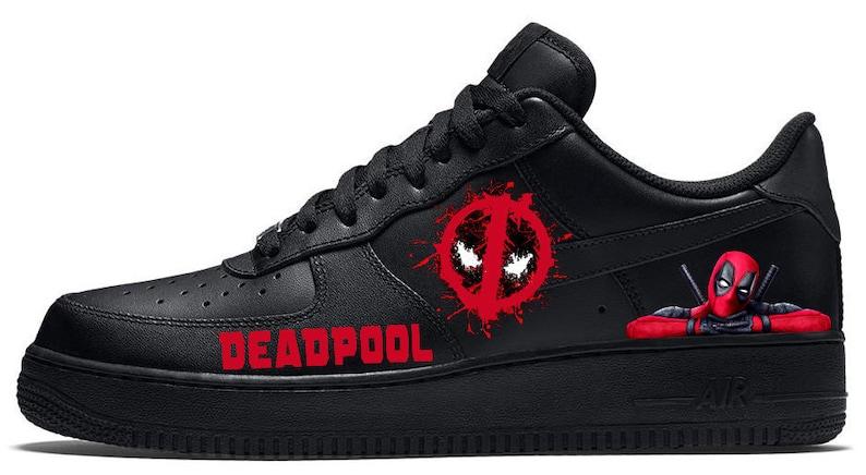 nouveau produit e4e52 f9c9c Deadpool Custom Nike Air Force 1 AF1 baskets en cuir noir