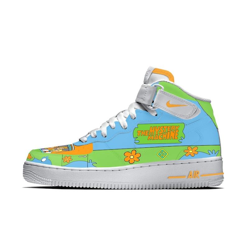 282b38ffa54bc Scooby Doo Mystery Machine Custom Air Force 1 Sneakers