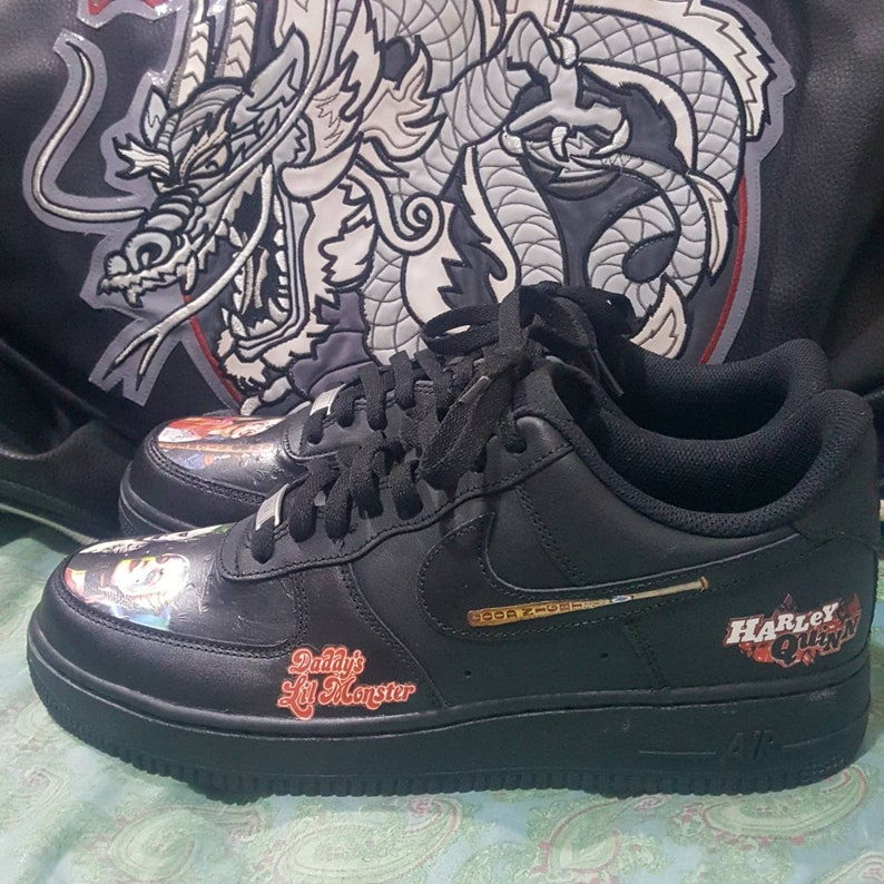 Custom Nike Air Force 1 AF1 Black Leather Harley Quinn   The  a9d4f40ac