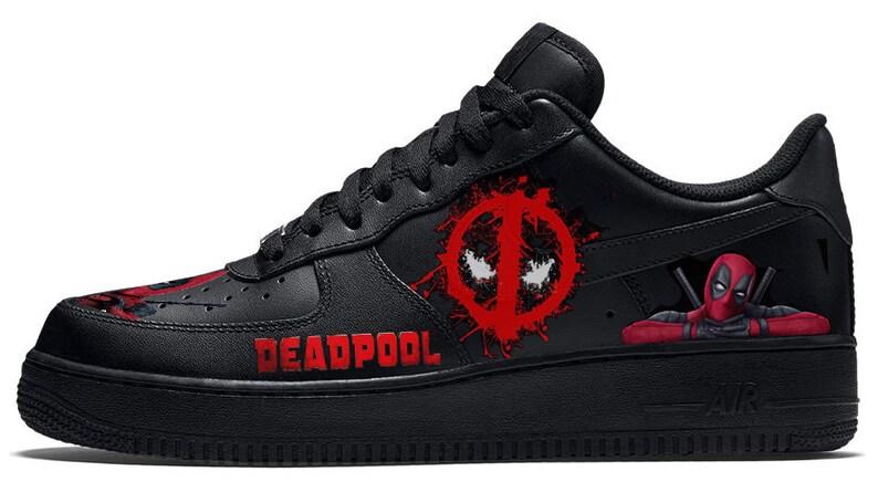 on sale a60e6 649ea Custom Nike Air Force 1 AF1 Black Leather Deadpool Sneakers