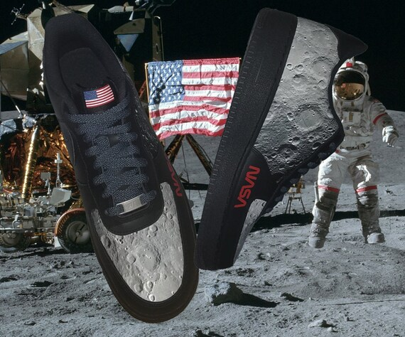 Nasa Moon Surface Custom Nike Air Force 1 Sneakers Etsy