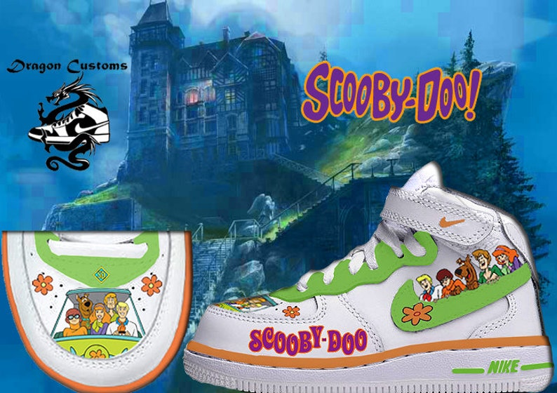 880745c177759 Mystery Machine Scooby Doo Custom Air Force 1 Mids Sneakers