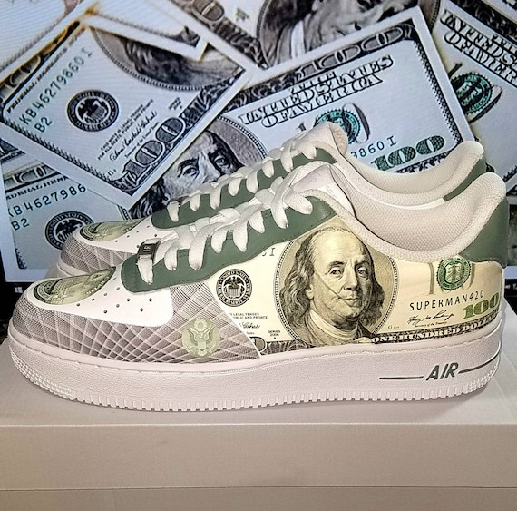 100 Dollar Bill Custom Nike Air Force 1 Sneakers