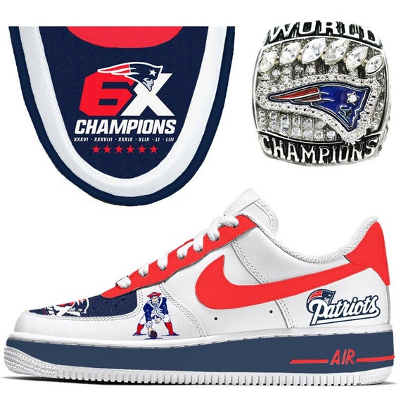 New England Patriots 6 Times World Champions Custom Nike Air Force 1 Sneakers