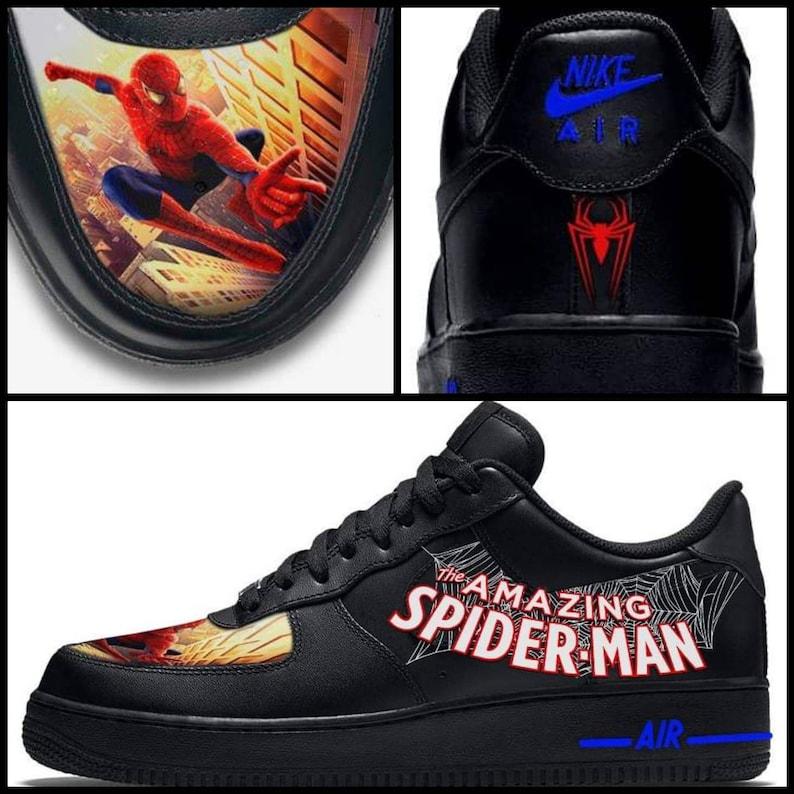 huge discount 5b1e0 70bae Custom Spiderman Nike Air Force 1 Sneakers   Etsy
