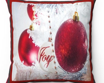 Red Joy Faux Suede Square Pillow