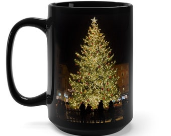 Italy Christmas Tree Black Mug 15oz