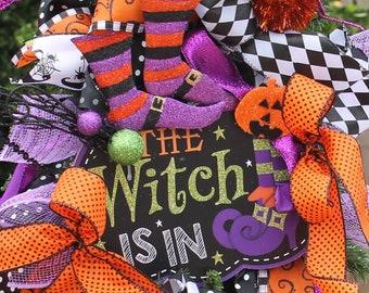 Whimsical Witch Halloween Swag,Wreath, Door Hanger