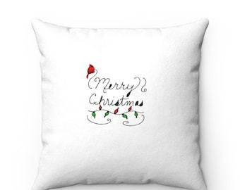 Merry Christmas Faux Suede Square Pillow