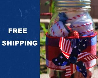Patriotic Napkin Ring Set of 6 in Decorative Mason Jar