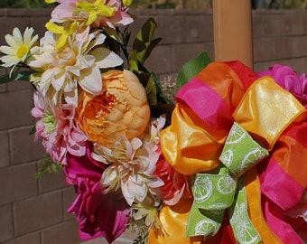 Bright Cheerful Spring Through Summer Hoop Wreath