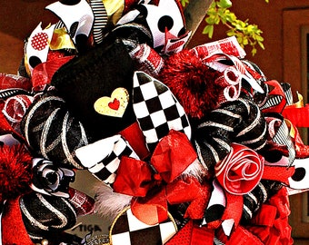Deluxe Extra Large Sparkling Mad Hatter Wreath