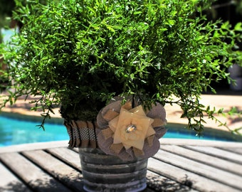 Farmhouse Style Burlap Flower Pot and Greenery Accent Piece