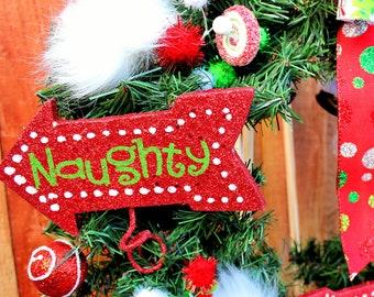 Naughty or Nice Christmas Wreath with Santa Hanger