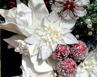 Holiday White Poinsettia Wreath with Red Accents Wreath- Christmas Wreath
