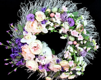 Lavender Lamb Spring Flowers Wreath-Lavender Lamb-Lavender Wreath-Lavender-Lavender Bouquet-Home Decor-Wreaths and Door Hangers-Wreaths-Home