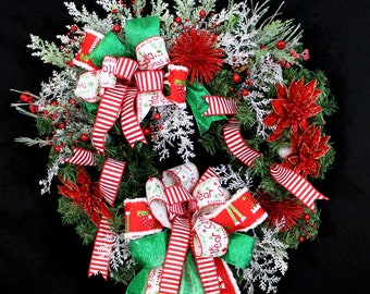 Christmas Wreath- Double Bow Festive Holiday Wreath Decoration