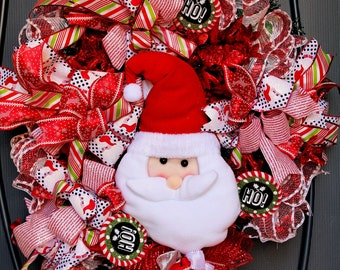 Whimsical Santa Christmas Wreath