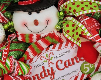 Candy Cane Snowman Christmas Wreath- Winter Holiday Decoration