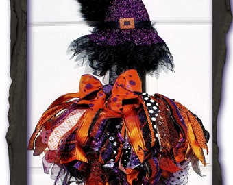 Fun and Funky Purple Ribbon Witch Halloween Wall Decoration