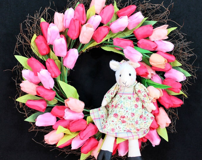 Featured listing image: Easter Bunny Wreath-Easter Wreath-Easter Decorations-Spring Wreath-Easter Decor-Easter Wreaths for Front Door-Little Lamb in Tulips