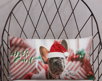Hello Santa French Bulldog Premium Pillow