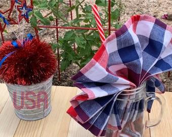 Set of 6 Patriotic Mason Jar Glasses Picnic Ensemble