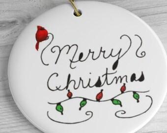 Red Bird Merry Christmas Ceramic Ornaments