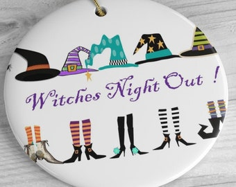 Witch Night Out Ceramic Ornaments
