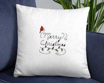 Red Cardinal Christmas Pillow