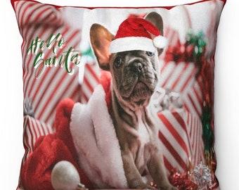 Hello Santa French Bulldog Decorative Pillow