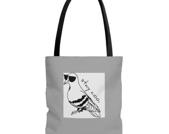 Stay Coo Pigeon AOP Tote Bag
