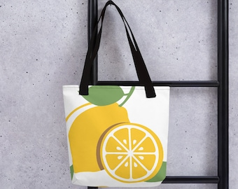 Lemon Tote Bag-Lemon Tote-Lemon Tree-Lemon Tree Plant-Lemon Theme Party-Lemon Decor-Lemon Print-Lemon Fabric-Lemon Bridal Shower-Totes-Bags