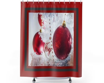 Red Joy Ornament   Shower Curtains