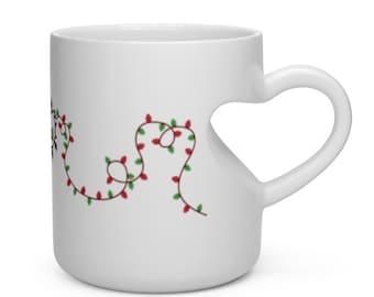 Christmas Mug-Christmas Coffee Mug-Christmas Mug Set-Holiday Mug-Christmas Lights My Heart Shape Mug-P and C Designs Co