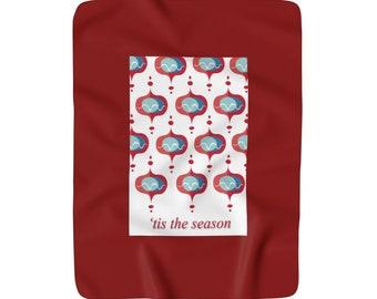 Tis The Season Retro Mod Christmas Ornament Sherpa Fleece Blanket