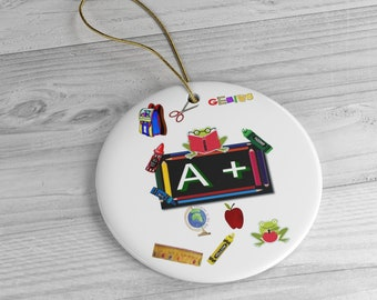 Teacher A+ Ceramic Ornaments