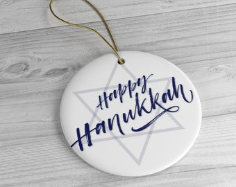 Happy Hanukkah Ceramic Ornaments