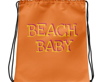 Beach Baby Drawstring bag