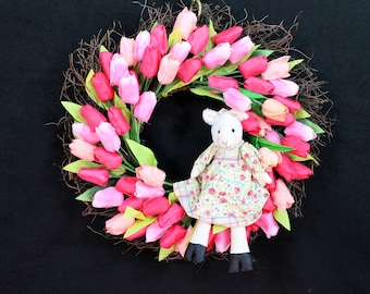 Easter Bunny Wreath-Easter Wreath-Easter Decorations-Spring Wreath-Easter Decor-Easter Wreaths for Front Door-Little Lamb in Tulips