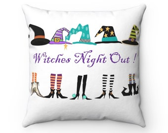 Witches Night Out! Black Halloween Decorative Pillow