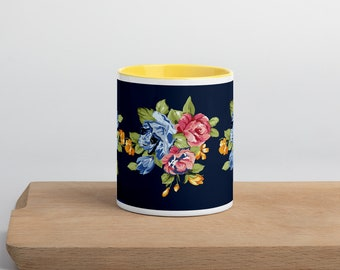 Floral Mug with Color Inside