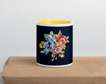 Floral Mug with Color Inside