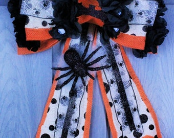 Halloween Spider Door Hanger,Wreath,Front Door Hanger Bow
