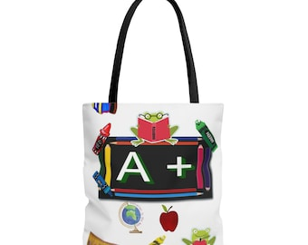 Teacher Appreciation Gift-Teacher Gifts-Preschool Teacher Gifts-Teacher Appreciation Week-Gifts for Teachers-Teacher A+ AOP Tote Bag-3 Sizes