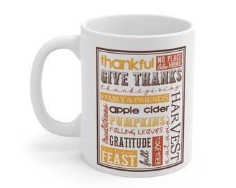 Fall Words White Ceramic Mug