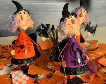 Set of Three Little  Bouncy Whimsical  Witches